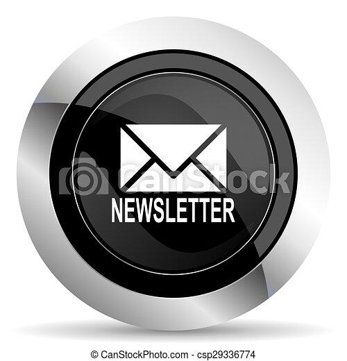 newsletter icon, black chrome button - csp29336774