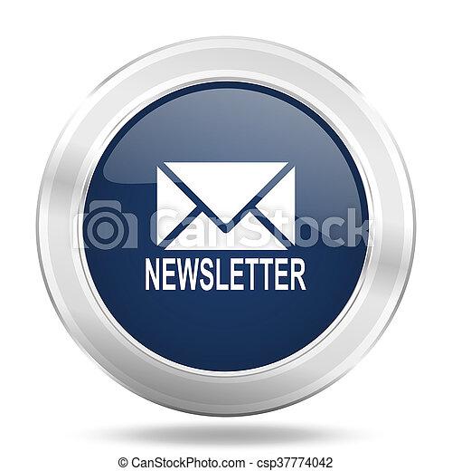 newsletter icon, dark blue round metallic internet button, web and mobile app illustration - csp37774042