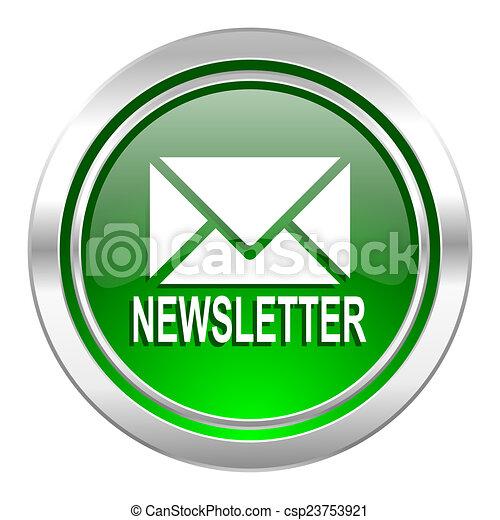 newsletter icon, green button - csp23753921