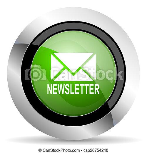 newsletter icon, green button - csp28754248