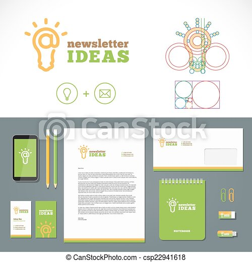 Newsletter ideas logo and identity template with flat style newsletter ideas logo and identity template with flat style stationary mockup letterhead envelope smartphone business cards etc wajeb Choice Image