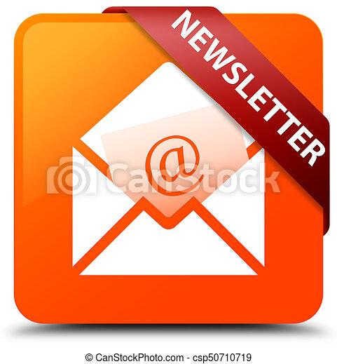 Newsletter orange square button red ribbon in corner - csp50710719