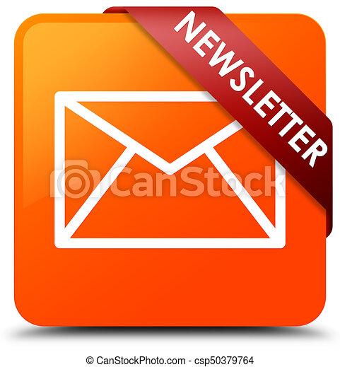 Newsletter orange square button red ribbon in corner - csp50379764