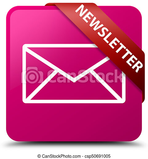 Newsletter pink square button red ribbon in corner - csp50691005