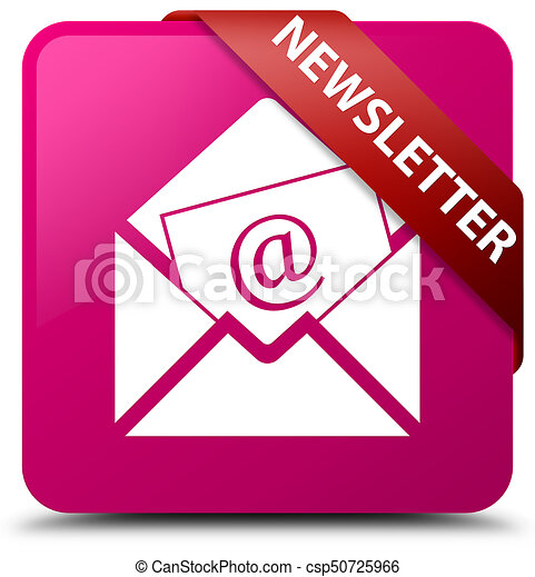Newsletter pink square button red ribbon in corner - csp50725966
