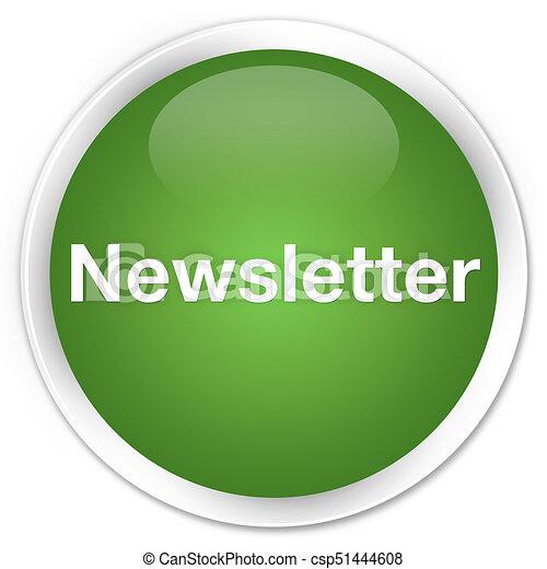 Newsletter premium soft green round button - csp51444608