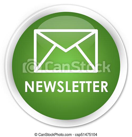 Newsletter premium soft green round button - csp51475104