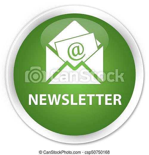 Newsletter premium soft green round button - csp50750168