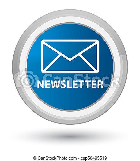 Newsletter prime blue round button - csp50495519