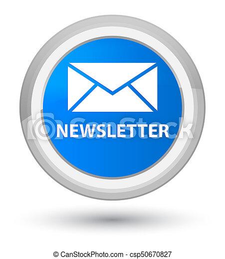 Newsletter prime cyan blue round button - csp50670827