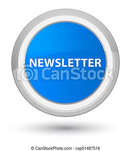 Newsletter prime cyan blue round button - csp51487516