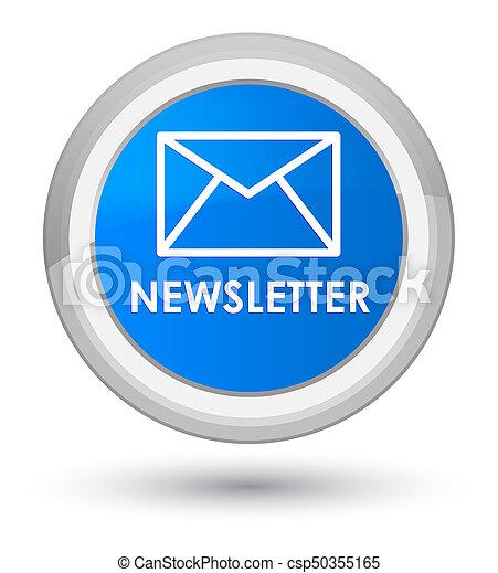 Newsletter prime cyan blue round button - csp50355165
