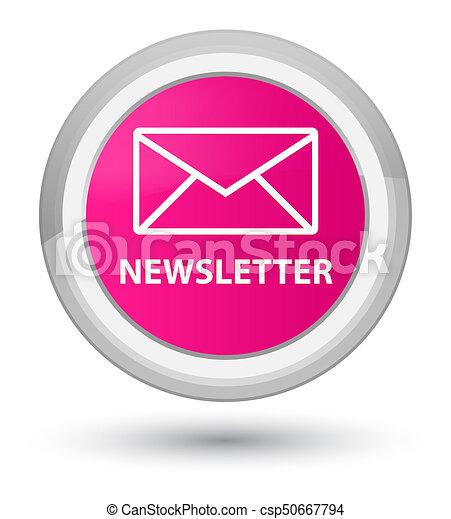 Newsletter prime pink round button - csp50667794