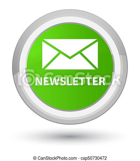 Newsletter prime soft green round button - csp50730472