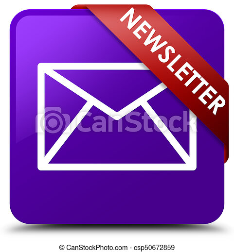 Newsletter purple square button red ribbon in corner - csp50672859