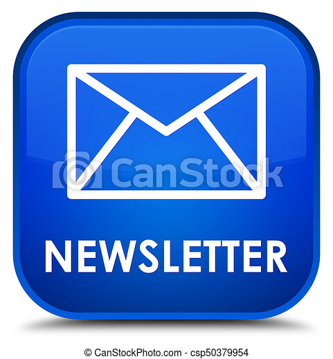 Newsletter special blue square button - csp50379954