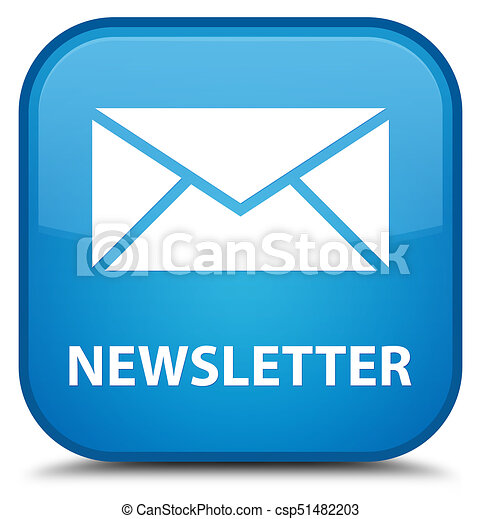 Newsletter special cyan blue square button - csp51482203