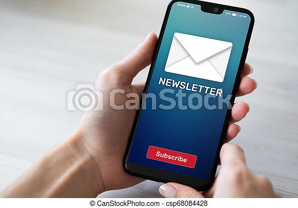 Newsletter subscription button on mobile phone screen. Business marketing concept. - csp68084428