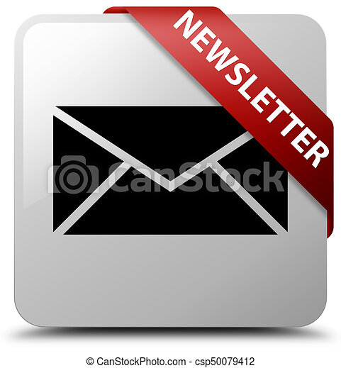 Newsletter white square button red ribbon in corner - csp50079412