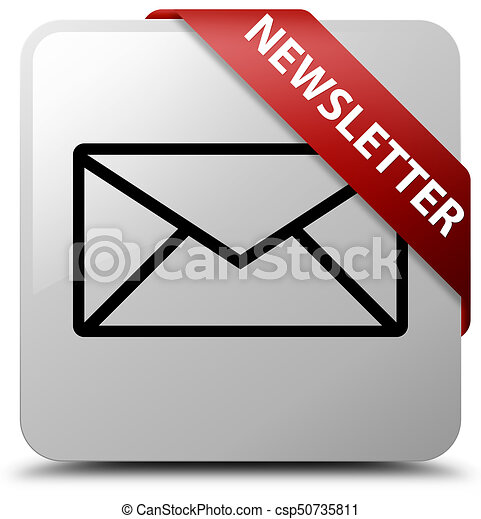 Newsletter white square button red ribbon in corner - csp50735811