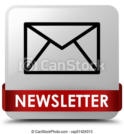 Newsletter white square button red ribbon in middle - csp51424313