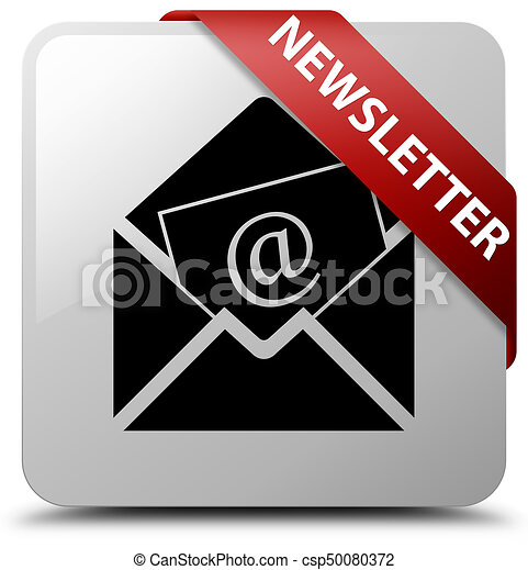 Newsletter white square button red ribbon in corner - csp50080372