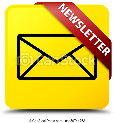Newsletter yellow square button red ribbon in corner - csp50744763