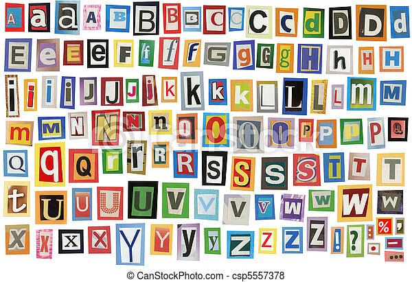 Newspaper alphabet - csp5557378