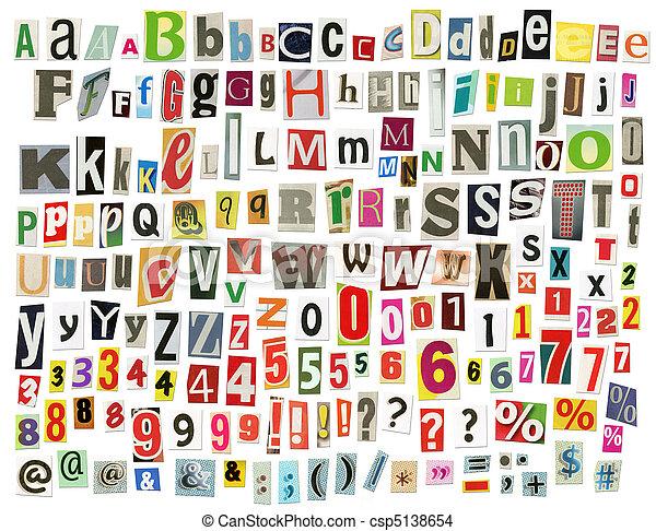 Newspaper alphabet - csp5138654