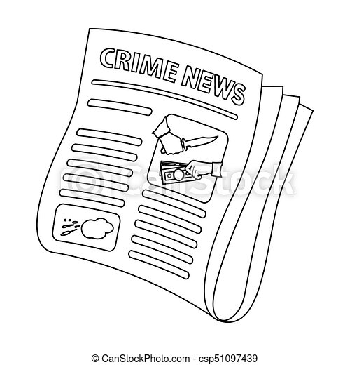 Newspaper Crime Newscrime Article In The Press Single Icon Outline Style Vector Symbol Stock