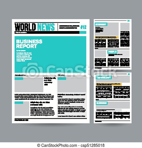 Newspaper Design Template Vector Modern Newspaper Layout  Vector
