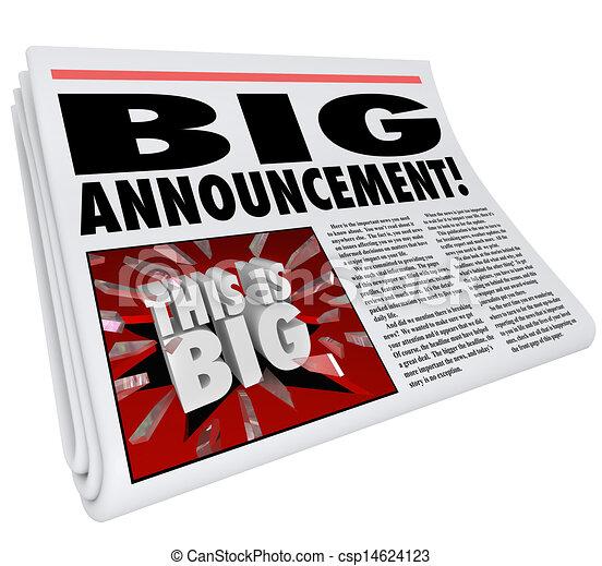 Newspaper Headline Big Announcement Huge News - csp14624123