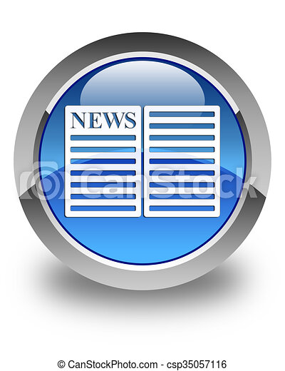 Newspaper icon glossy blue round button 2 - csp35057116