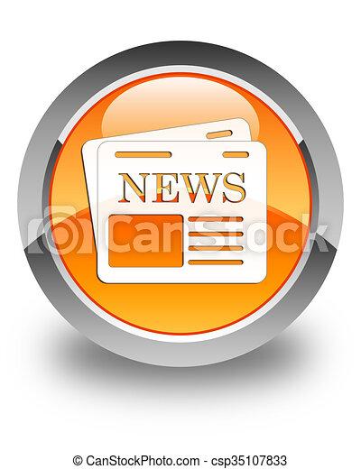 Newspaper icon glossy orange round button 3 - csp35107833