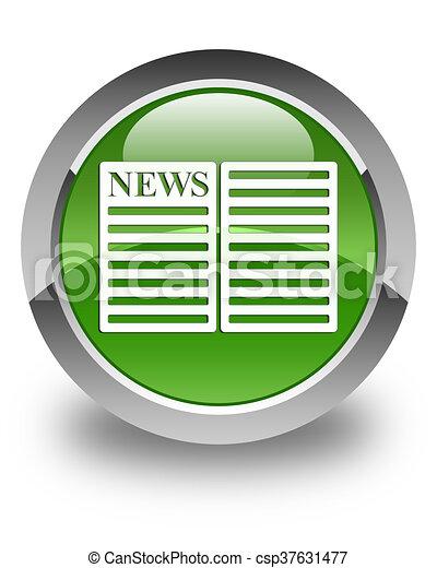 Newspaper icon glossy soft green round button - csp37631477