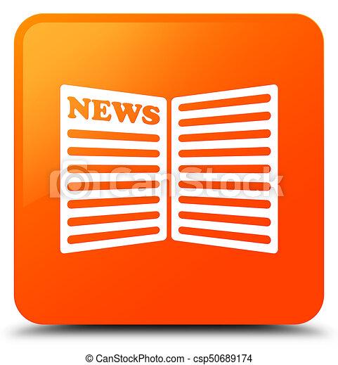 Newspaper icon orange square button - csp50689174