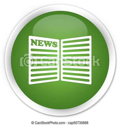 Newspaper icon premium soft green round button - csp50730668