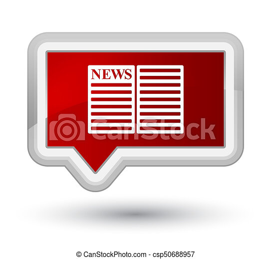 Newspaper icon prime red banner button - csp50688957