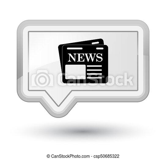 Newspaper icon prime white banner button - csp50685322