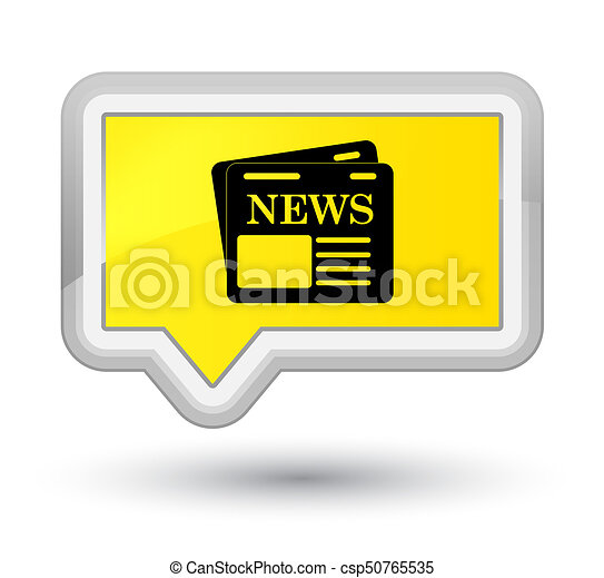 Newspaper icon prime yellow banner button - csp50765535