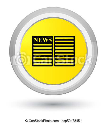 Newspaper icon prime yellow round button - csp50478451