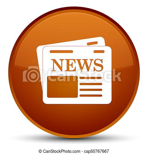 Newspaper icon special brown round button - csp50767667
