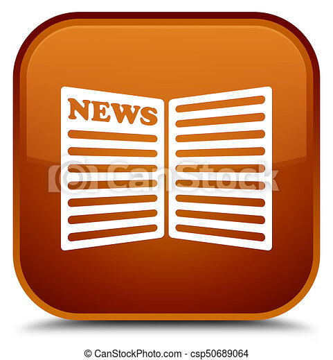 Newspaper icon special brown square button - csp50689064