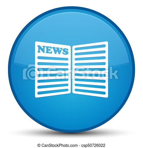 Newspaper icon special cyan blue round button - csp50726022