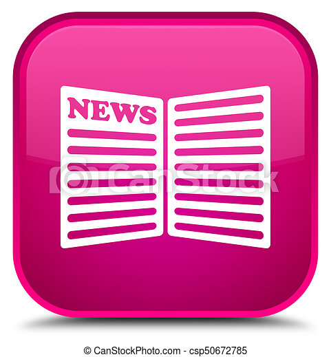 Newspaper icon special pink square button - csp50672785