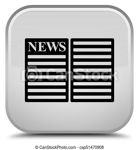 Newspaper icon special white square button - csp51470908