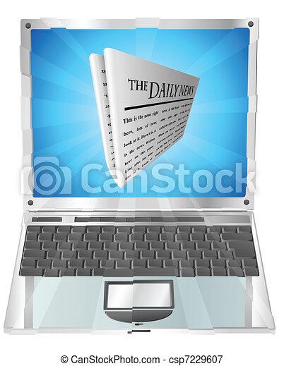 Newspaper laptop concept - csp7229607