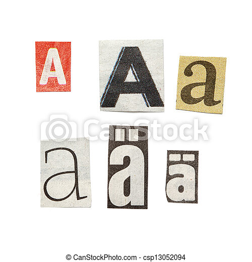 Newspaper letters set of letters cut out from different news papers newspaper letters csp13052094 spiritdancerdesigns Gallery