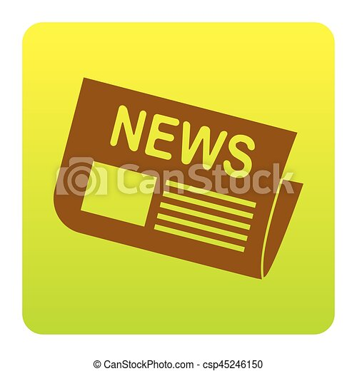 Newspaper sign. Vector. Brown icon at green-yellow gradient square with rounded corners on white background. Isolated. - csp45246150