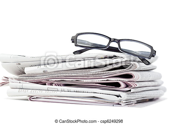 Newspapers and black glasses - csp6249298